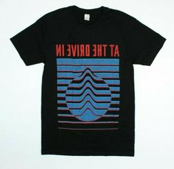 At The Drive In Band Blue Stripes Black Preshrunk T-Shirt Ne