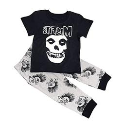 Maygold Baby Boys Cotton Clothes Set Toddler Skull T-Shirt P