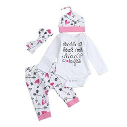 "WuyiMC Baby Girls Clothes Long Sleeve ""I'm Adorable. Mom's B"