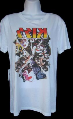 KISS BAND Womens Size L Logo Graphic Front White T-Shirt Top