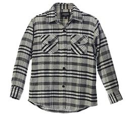Gioberti Boys Long Sleeve Plaid Flannel Gray/Black Band Shir