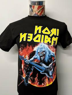 BRAND NEW IRON MAIDEN TILTED YELLOW BAND NAME BLUE EDDIE FLA