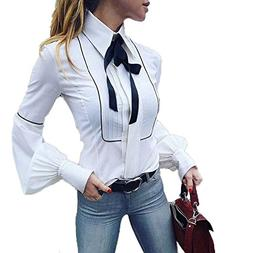 TOPUNDER Button Down Shirt with Tie for Women Office Top Wor
