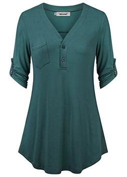 Tencole Button Down Tunic Women, Summer Fitted Tunic Top Elb