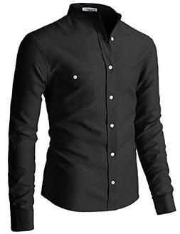 H2H Mens Casual Band Collar Button Down Oxford Long Sleeve S