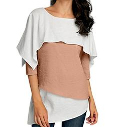 DongDong Women Casual Blouse Three Quarter Sleeve Overlay Em