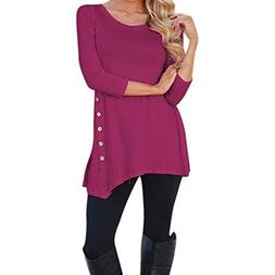 POHOK Clearance Women Long Sleeve Loose Button Trim Blouse S