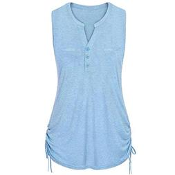 POHOK Clearance Women Ladies V-Neck Sleeveless Vest Tank Blo