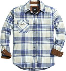 CQR CQ-HOF110-CBL_Medium Men's Flannel Long Sleeved Button-U