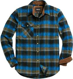 CQR CQ-HOF110-RVR_Medium Men's Flannel Long Sleeved Button-U