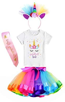 girls layered tutu skirt with unicorn star