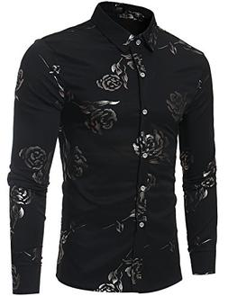ZEROYAA Mens Hipster Gold Rose Printed Slim Fit Long Sleeve