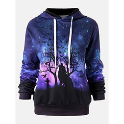 Toimoth Women Holloween Wolf Digital Printing Hoodie Sweater