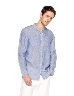 Isle Bay Linens Men's Standard-Fit 100% Linen Long-Sleeve Ba