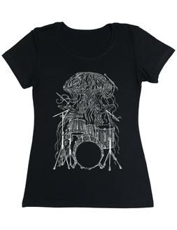 Jellyfish Playing Drums Drummer Tee Musician Women's Poly-Co