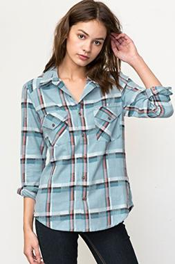 RVCA Women's Jig 5 Long Sleeve Flannel Shirt, Horizon, M
