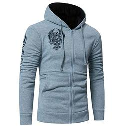 kaifongfu Sweater Men Shirt Solid Color Hooded Top with Zipp