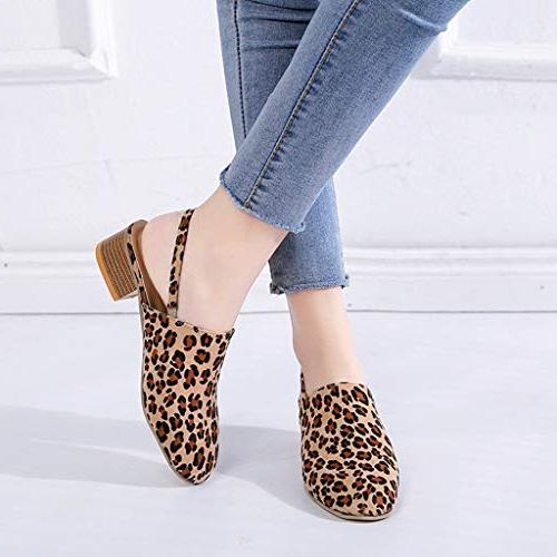 Baiggooswt 2019 Round Toe Shoes Heels Band Single Leopard