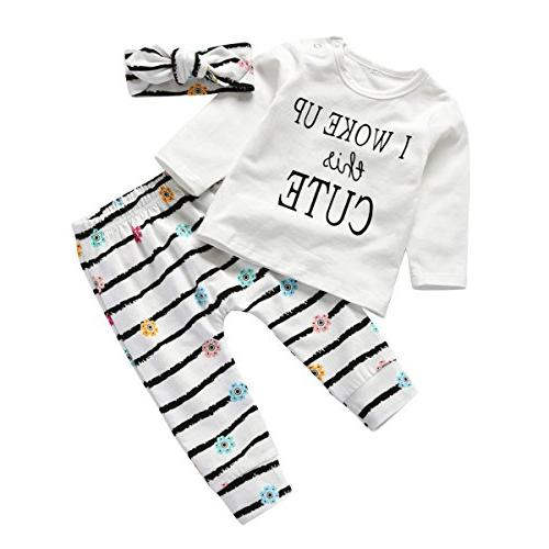 3Pcs Girl Set Woke This Cute Long Sleeve T-Shirt Tops with Headband