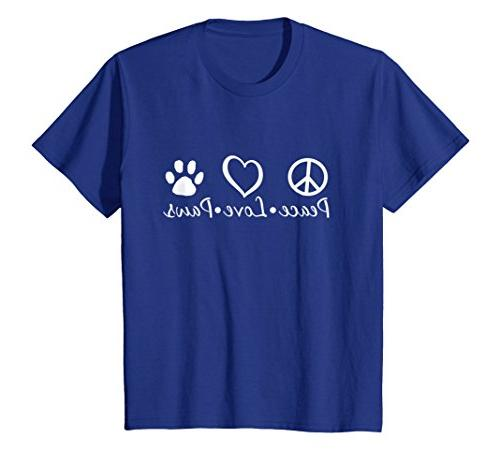 Kids Peace Love Paws Animal Lover T-Shirt 6 Royal Blue