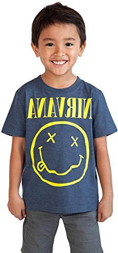 NIRVANA LICENSED Toddler Nirvana Smiley T-Shirt Blue 3T