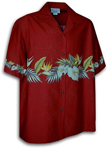 Pacific Legend Hawaiian Shirt for Men, Red with Anthurium an