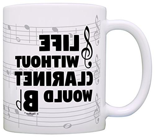 Funny Without Clarinet Would Flat Marching Band Gift Coffee Mug Tea Cup Notes