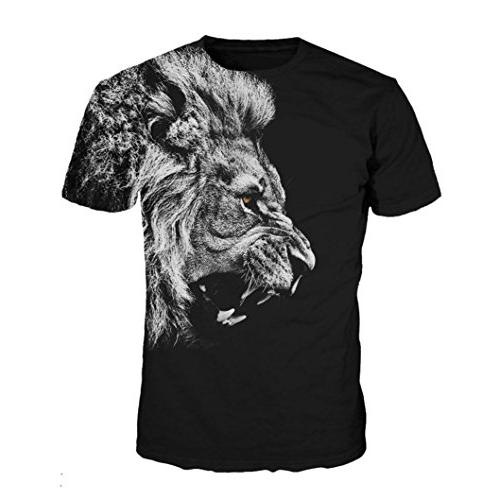 iYYVV Mens Lion 3D Printing Tops Sleeve
