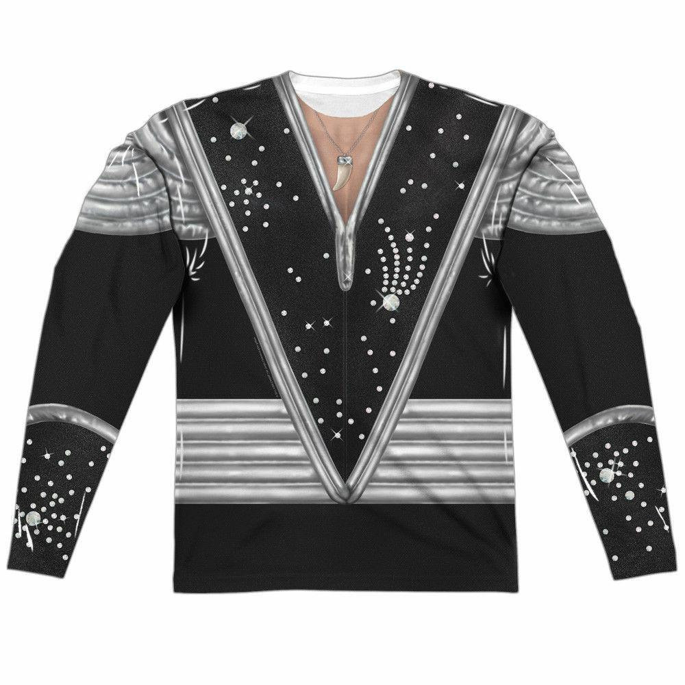 KISS Rock Band Spaceman Costume ACE FREHLEY Front Back LS Sub Poly T-Shirt S-3XL