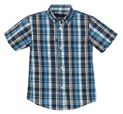 Gioberti Little Boys Plaid Short Sleeve Shirt, Black/Turquoi