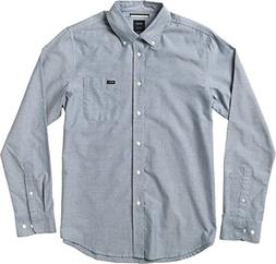 RVCA Men's That'll Do Oxford Long Sleeve Woven Shirt, Distan