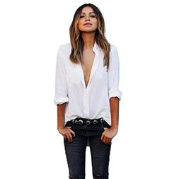 HGWXX7 Long Sleeve Shirt Women Loose Solid V-Neck Button Blo