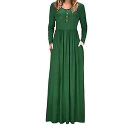 Sunhusing Women's Long Sleeve Solid Color Buckle Pocket Dres