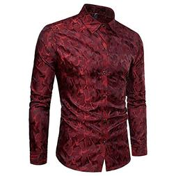WULFUL Men's Long Sleeve Stylish Slim Fit Button Casual Shir