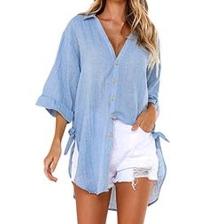 POHOK Hot Womens Loose Button Long Shirt Dress Cotton Ladies