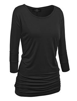 Made By Johnny MBJ WT822 Womens 3/4 Sleeve with Drape Top XS