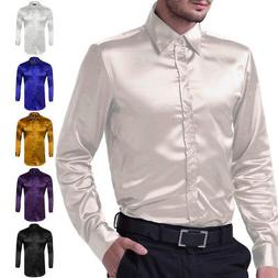 Men Button Down Casual/Luxury Long Sleeve Shirt Satin Silk L