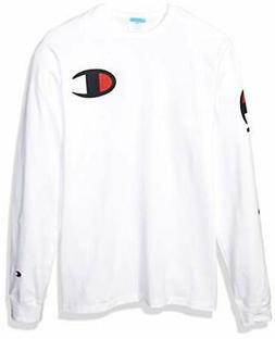 Champion LIFE Men's Heritage Long Sleeve Tee, White w/Big c,
