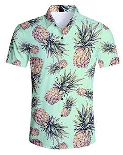 UNIFACO Men's Pineapple Print Summer Short Sleeve Button Dow