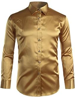 ZEROYAA Mens Regular Fit Long Sleeve Shiny Satin Silk Like D