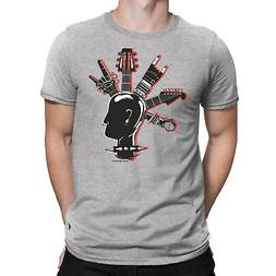 Mens T-Shirt Cool GUITAR MOHAWK Band Guitar Drums Rock Punk