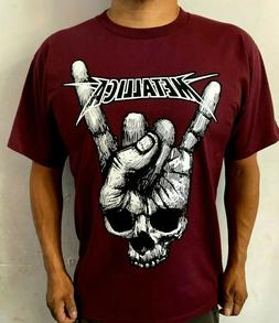 METALLICA VINTAGE PUNK ROCK  BAND BURGUNDY T SHIRT