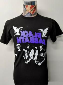 NEW BLACK SABBATH WAVY PURPLE LOGO WHITE BAND PHOTO OZZY MET