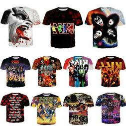 Newest KISS Rock Band 3d t shirt  Mens/Womens Casual Short S