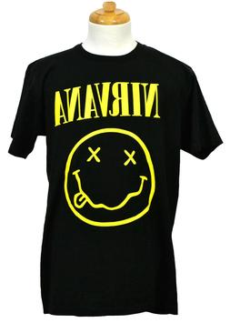 Nirvana Smiley Face T-shirt Rock Band Graphic Tee Black Pres