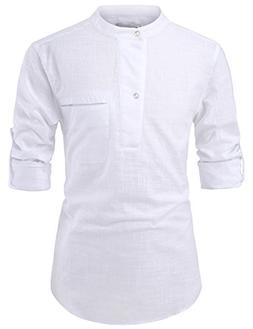 NEARKIN NKNKN381 Mens China Collar Henley Neck Roll-Up Sleev