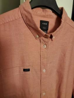 NWOT RVCA Slim Fit Long Sleeve Button Up Shirt. Salmon Color