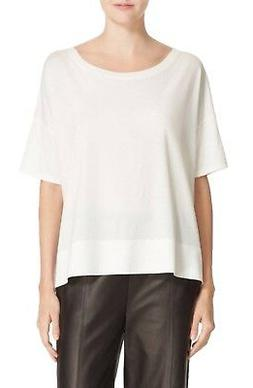 NWT $85 Vince Women's White Off Banded Relaxed Tee Pima Top