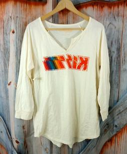 Nwt New Lucky Brand Womens Kiss Band Logo Shirt Top Sz L Lar