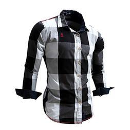 Overmal Men's Checked Shirt Long Sleeve Non-Iron Casual Blou